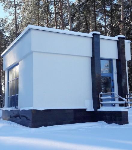 Подсистема для вентфасада из натурального гранита на проходную КМЦ в д.Ждановичи